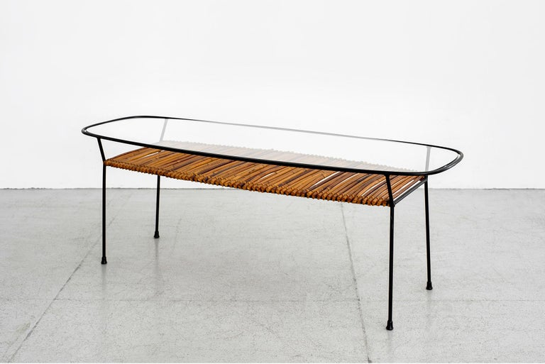 Italian Iron and Bamboo Coffee Table For Sale 1