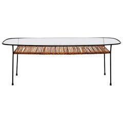 Italian Iron and Bamboo Coffee Table