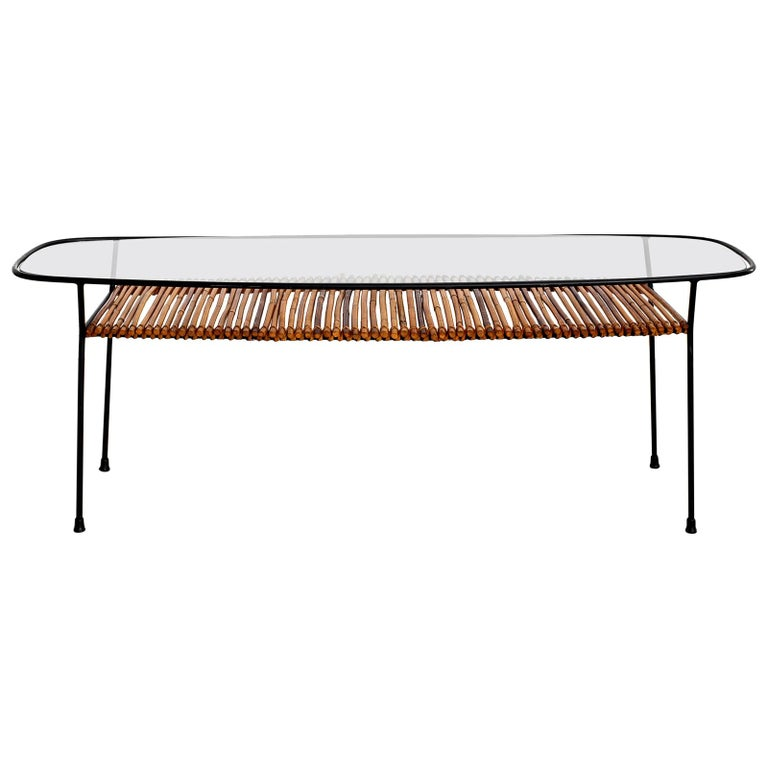 Italian Iron and Bamboo Coffee Table For Sale