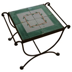 Italian Iron and Ceramic Tile Garden Table