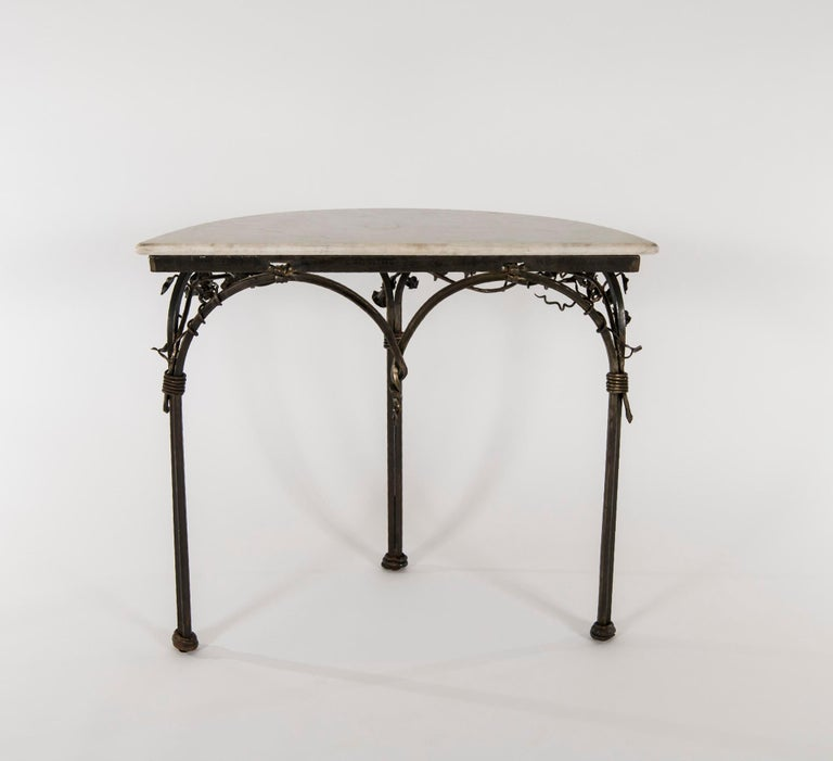 Italian Iron Console with Marble Top In Good Condition For Sale In Houston, TX