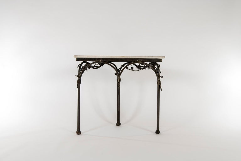 20th Century Italian Iron Console with Marble Top For Sale