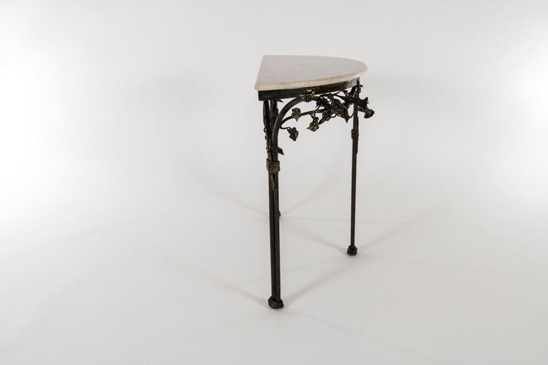 Wrought Iron Italian Iron Console with Marble Top For Sale