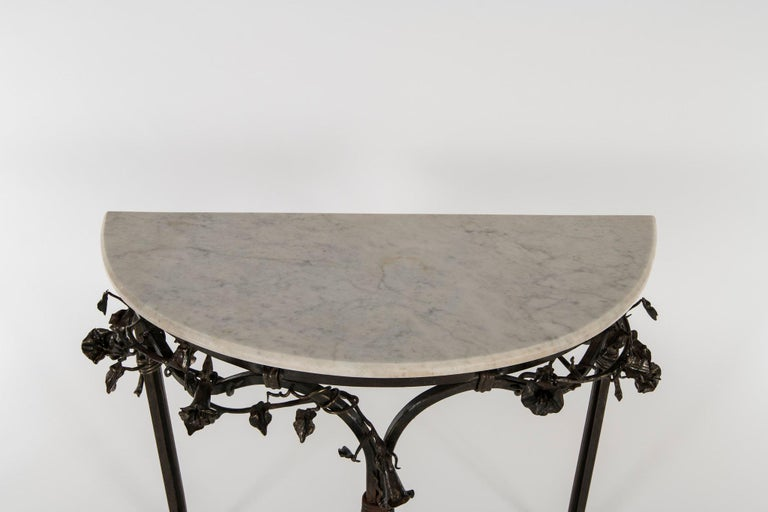 Italian Iron Console with Marble Top For Sale 1