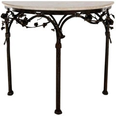 Italian Iron Console with Marble Top