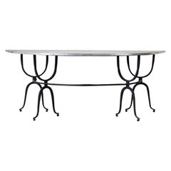 Italian Iron Demilune Hunt Table or Wine Tasting Table