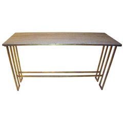 Italian Iron Travertine Marble Top Console
