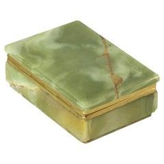 Italian Jade Green Onyx Marble Box, 1950's