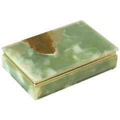 Italian Jade Green Onyx Marble Box