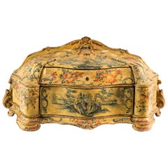 Italian Jewelry Box, Venice, 18th Century, Venetian Carved Lacquer Wood, Italy