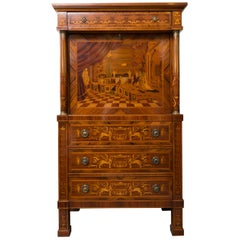 Italian Kingwood and Satinwood Marquetry Abattant