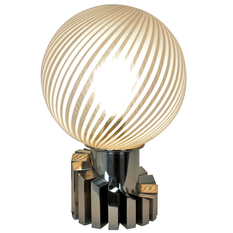 Italian La Murrina Style Midcentury Stripped Glass and Chrome Globe Table Lamp