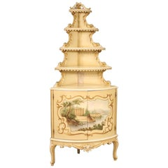Italian Lacquered, Gilded and Painted Corner Cabinet, 20th Century