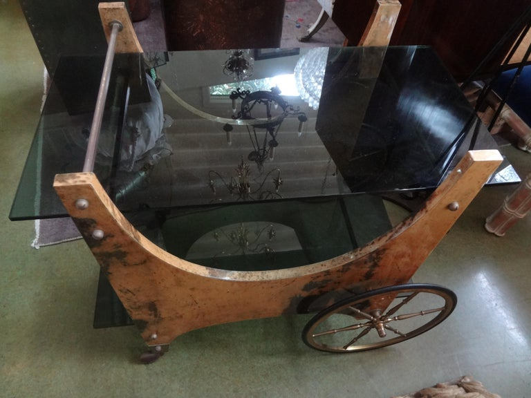 Italian Lacquered Goatskin Bar Cart or Serving Cart by Aldo Tura For Sale 6
