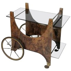 Italian Lacquered Goatskin Bar Cart or Serving Cart by Aldo Tura