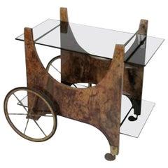 Italian Lacquered Goatskin Bar Cart or Serving Cart by Aldo Tura