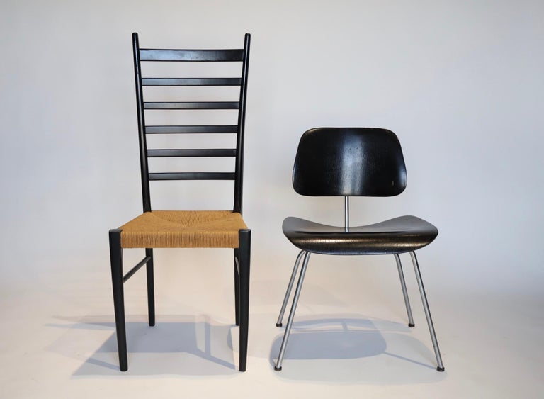 Mid-Century Modern Italian Ladder Back Dining Chairs For Sale