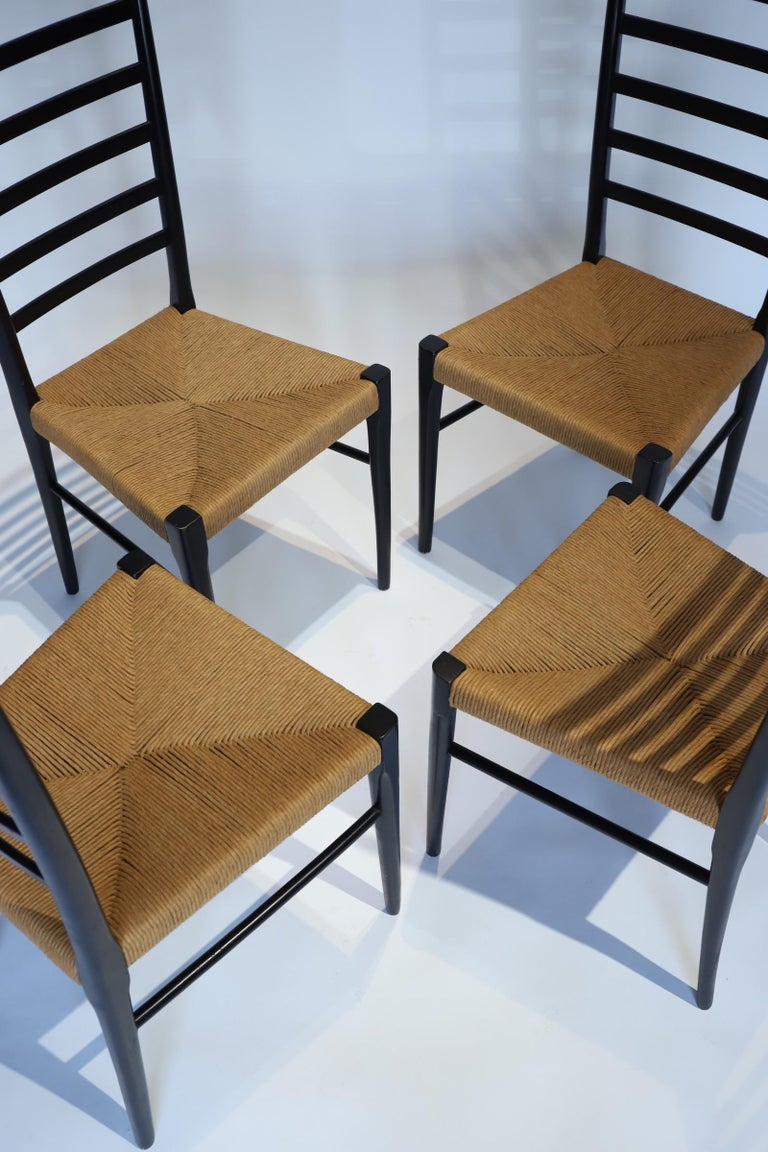 Italian Ladder Back Dining Chairs In Good Condition For Sale In Oklahoma City, OK