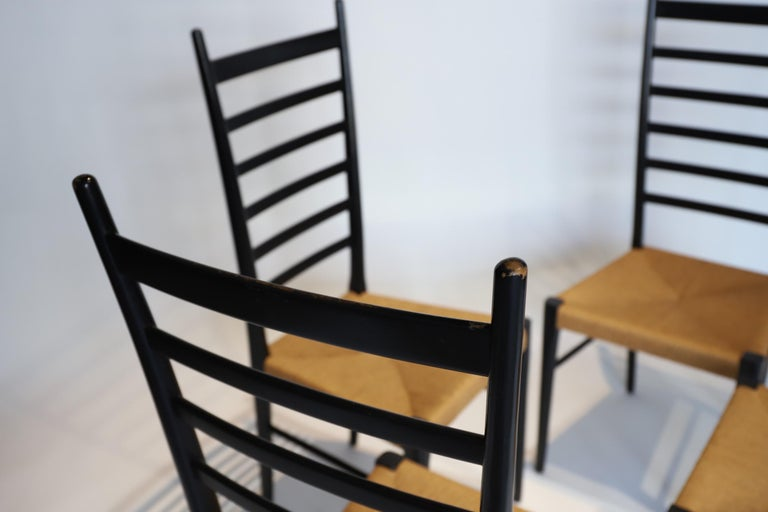 20th Century Italian Ladder Back Dining Chairs For Sale