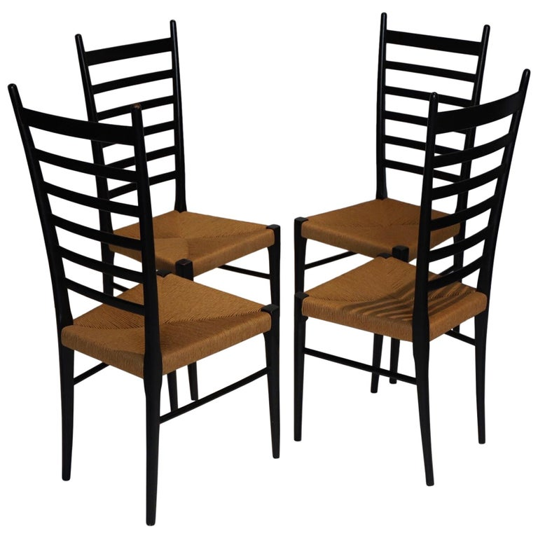 Italian Ladder Back Dining Chairs For Sale