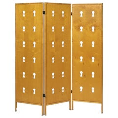 Italian Laminated Maple Keyhole 3-Panel Folding Screen