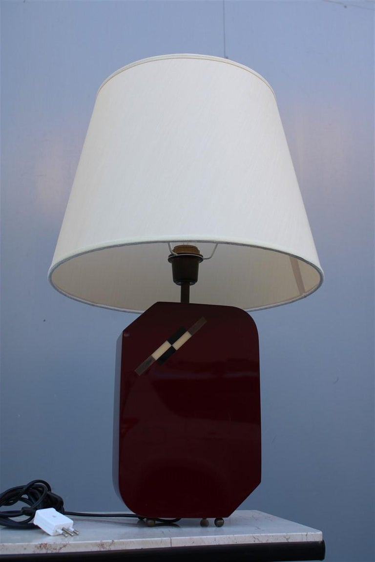 Italian Lamp 1970 in Red Bakelite with Dome in white Round Fabric For Sale 6