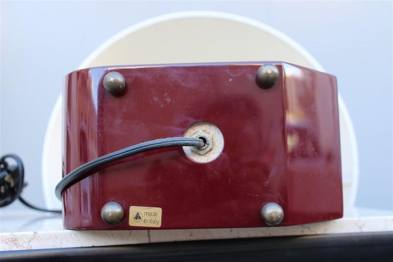 Italian Lamp 1970 in Red Bakelite with Dome in white Round Fabric In Good Condition For Sale In Palermo, Sicily