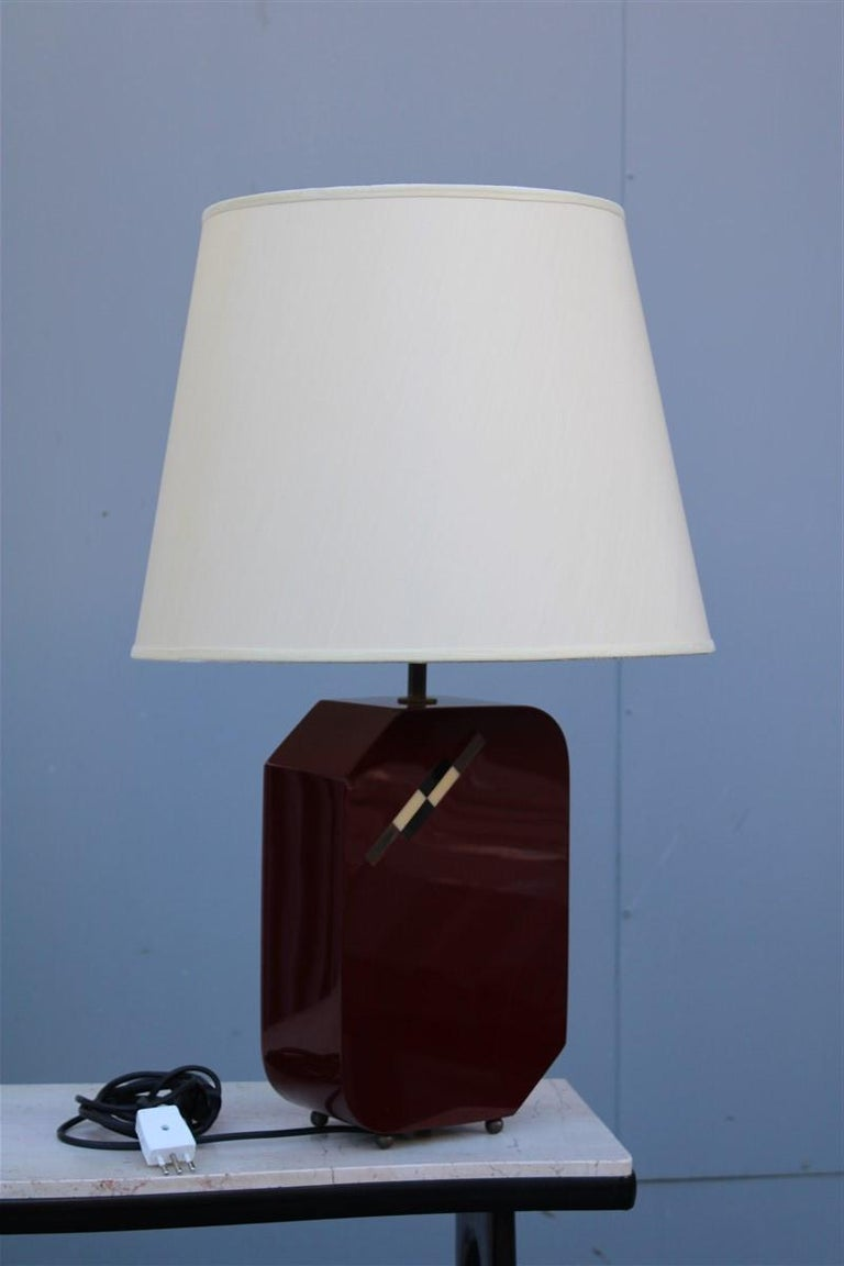 Late 20th Century Italian Lamp 1970 in Red Bakelite with Dome in white Round Fabric For Sale