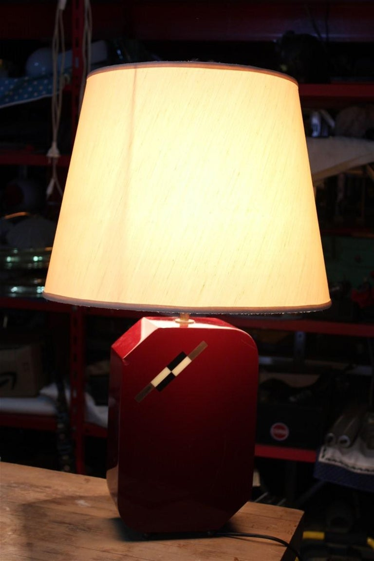Italian Lamp 1970 in Red Bakelite with Dome in white Round Fabric For Sale 1