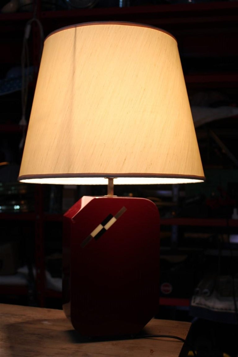 Italian Lamp 1970 in Red Bakelite with Dome in white Round Fabric For Sale 3