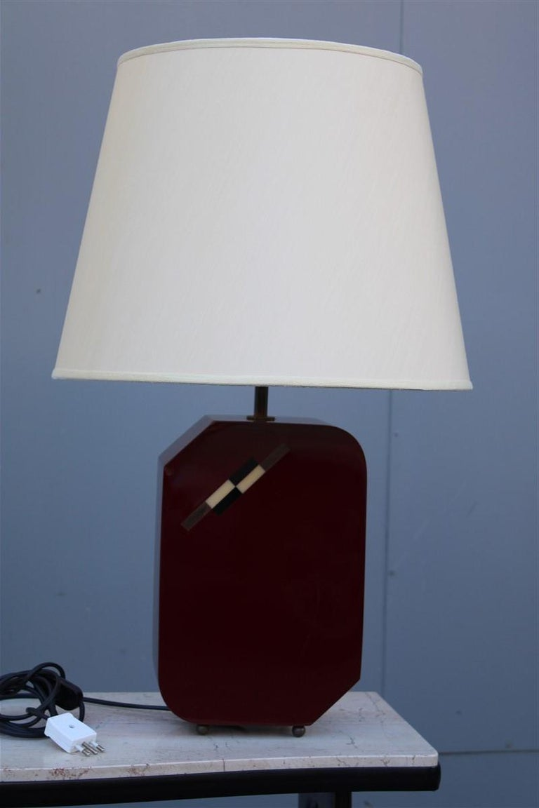 Italian Lamp 1970 in Red Bakelite with Dome in white Round Fabric For Sale 4