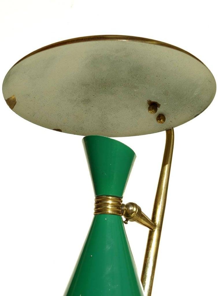 Italian Lamp Midcentury Design 1950s Green Table Lamp In Excellent Condition For Sale In Brescia, IT