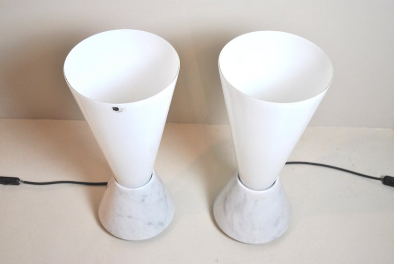 Italian Lamps in Murano Glass and Marble Base, 1970s For Sale 2