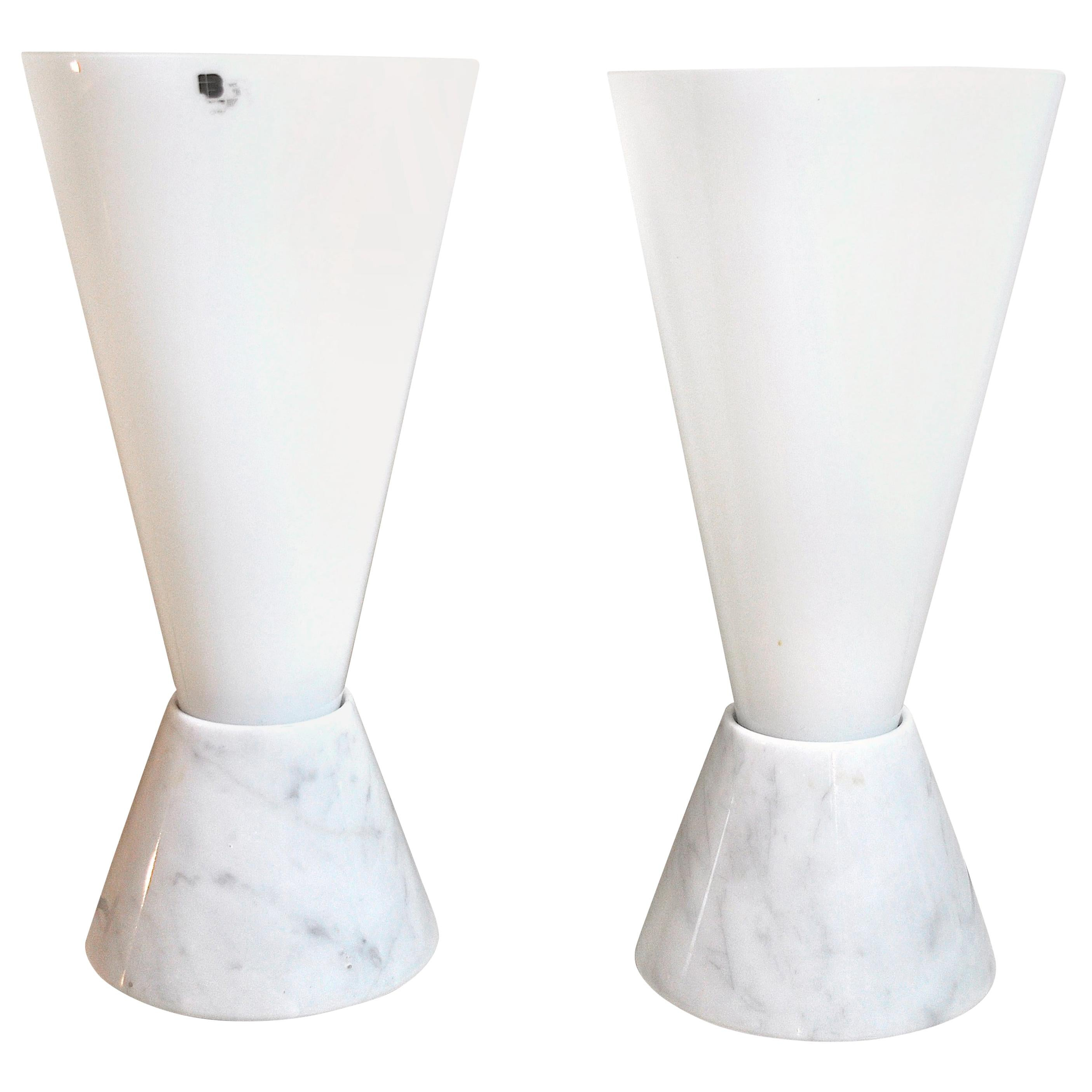 Italian Lamps in Murano Glass and Marble Base, 1970s