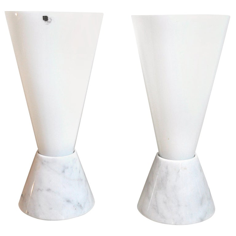 Italian Lamps in Murano Glass and Marble Base, 1970s For Sale