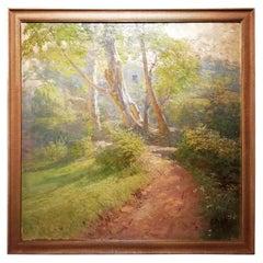 Italian Landscape, Cleto Luzzi 20th Century Oil Italian Countryside Woodland