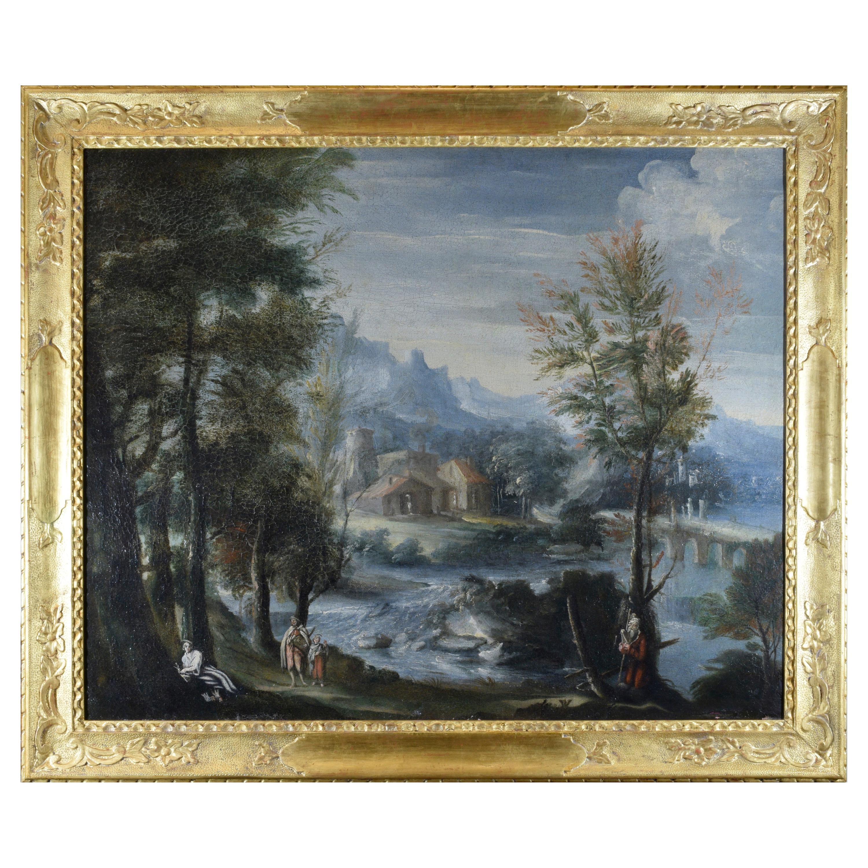 Italian Landscape Oil on Canvas Early 18th Century Gold Frame Venetian School