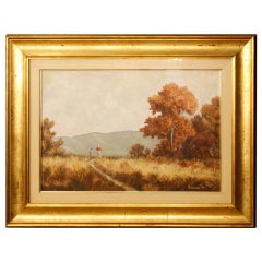 Italian Landscape Oil Painting on Canvas Signed and Dated, 20th Century