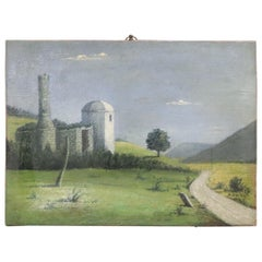 Italian Landscape Painted Oil on Canvas Signed and Dated 1939
