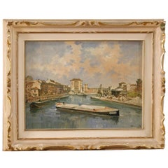 Italian Landscape Painting View of River with Boat from 20th Century