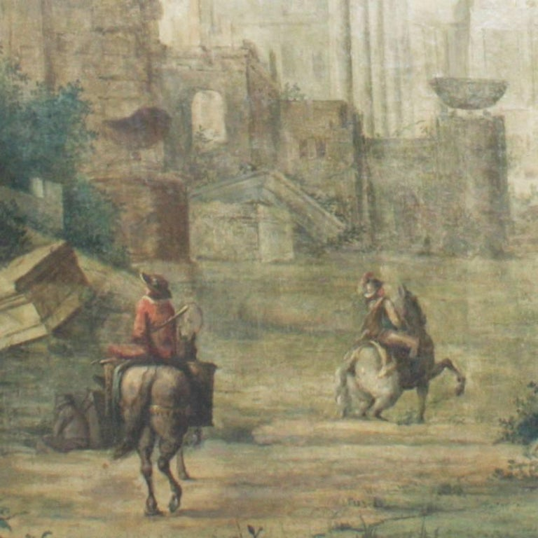 Italian landscape painting in soft colors with classical architecture ruins and staff age figures.
