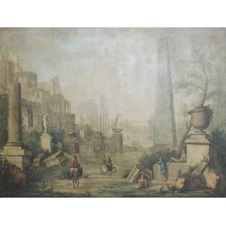Italian Landscape Painting, 18th Century For Sale