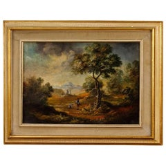 Italian Landscape with Characters Painting Oil on Canvas from 20th Century