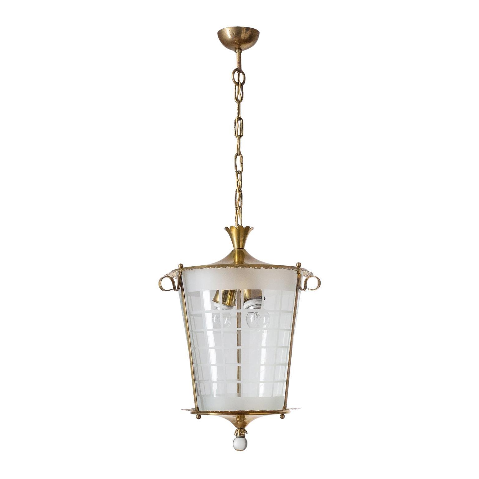 Italian Lantern, 1930s, Brass and Glass