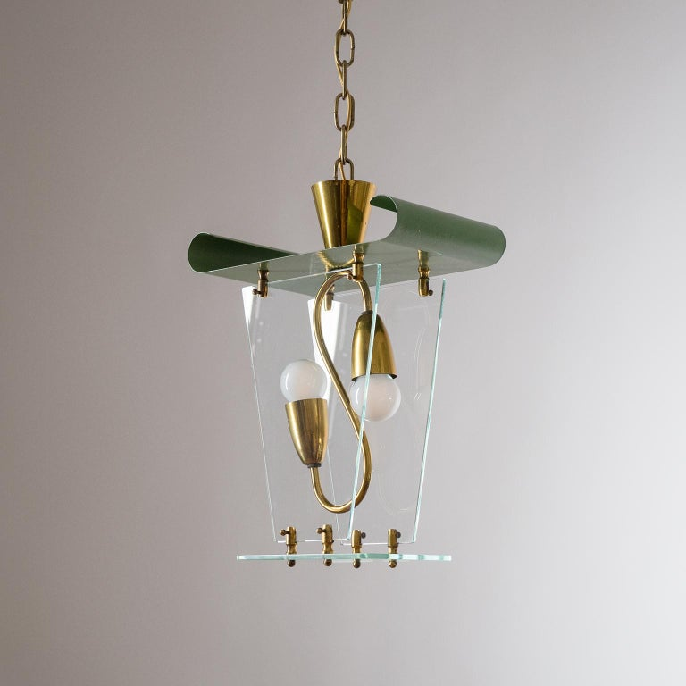 Italian Lantern, 1940s, Brass and Glass For Sale 5