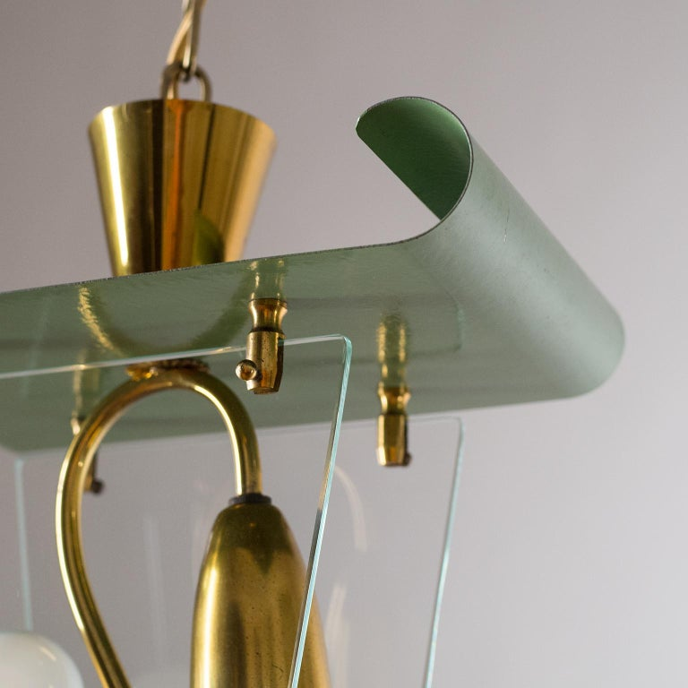 Italian Lantern, 1940s, Brass and Glass For Sale 6