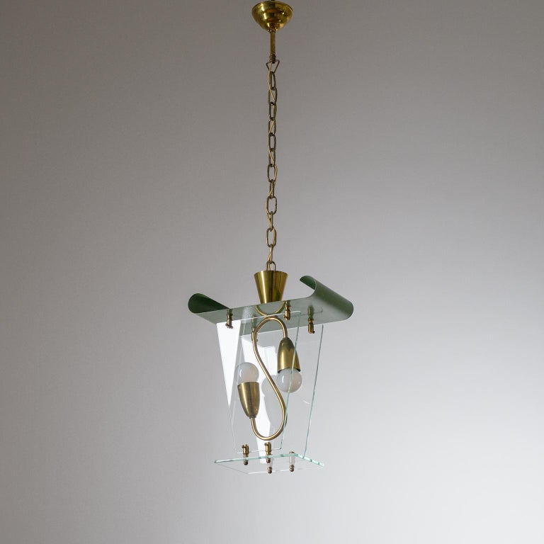 Italian Lantern, 1940s, Brass and Glass For Sale 8