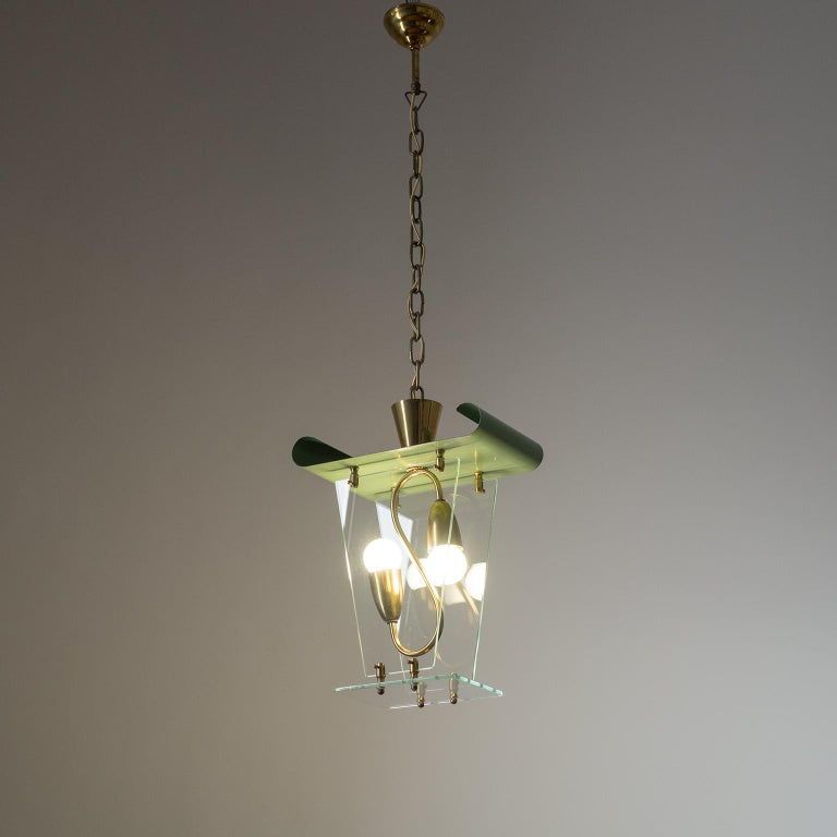 Italian Lantern, 1940s, Brass and Glass For Sale 9