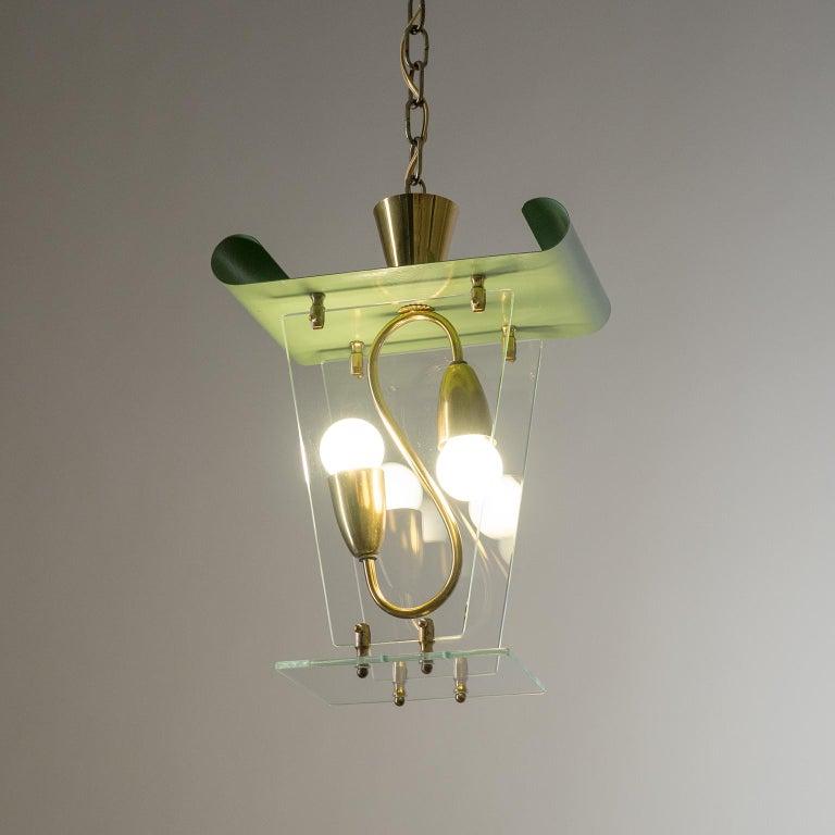 Art Deco Italian Lantern, 1940s, Brass and Glass For Sale