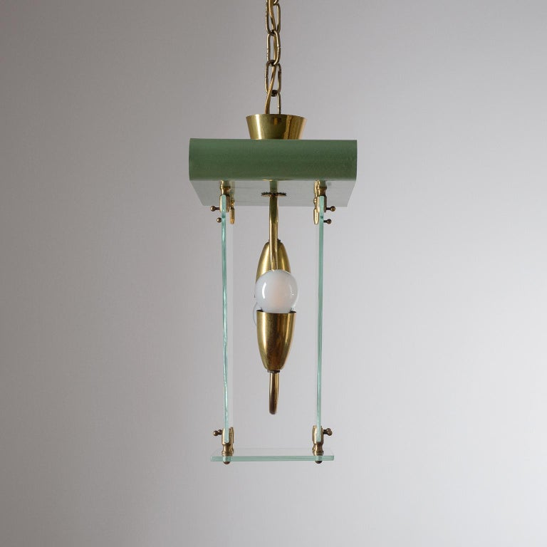 Mid-20th Century Italian Lantern, 1940s, Brass and Glass For Sale